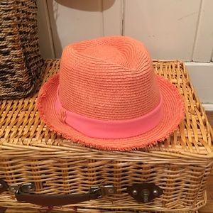 Fedora Hat - Coral paper / poly blend coral